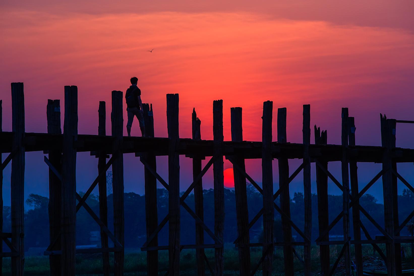 缅甸——乌本桥剪影